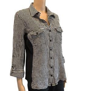 Zac & Rachel black & white geometric button up shirt xl